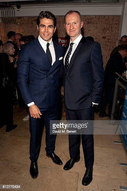 Cast members Jack Derges and Mark Gatiss attend the press night performance of 'The Boys In The Band' at The Park Theatre on October 4 2016 in London...