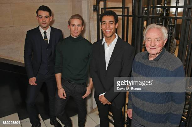 Cast members Jack McMullen Elliot Balchin Alex Stedman and Patrick Godfrey attend the press night after party for 'Witness For The Prosecution' at...