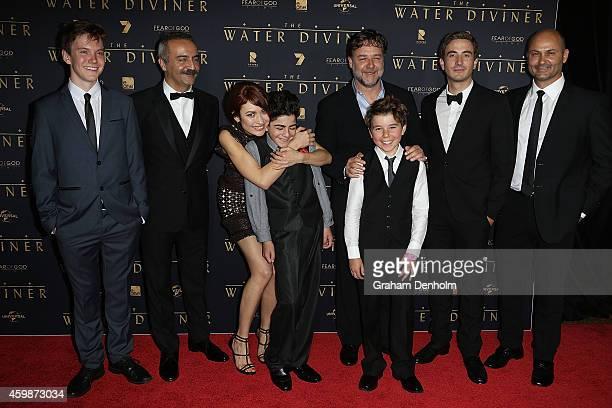 Cast members James Fraser Yilmaz Erdogan Olga Kurylenko Dylan Georgiades Russell Crowe Ben Norris Ryan Corr and Steve Bastoni pose at the Melbourne...