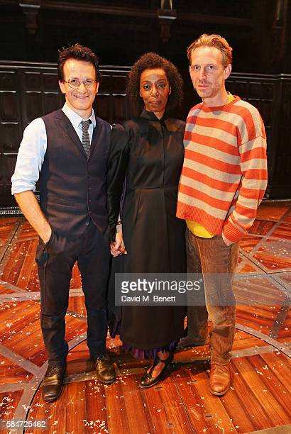 Cast members Jamie Parker Noma Dumezweni and Paul Thornley pose backstage following the press preview of 'Harry Potter The Cursed Child' at The...