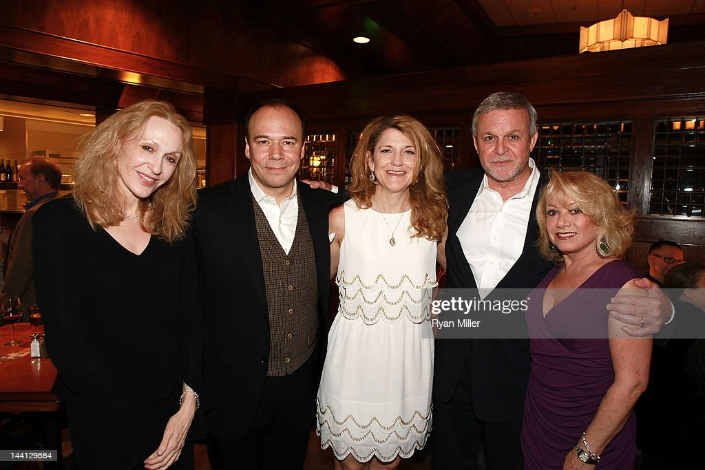 Cast members <a gi-track='captionPersonalityLinkClicked' href=/galleries/search?phrase=Jan+Maxwell&family=editorial&specificpeople=227465 ng-click='$event.stopPropagation()'>Jan Maxwell</a>, Danny Burstein, Victoria Clark, Ron Raines and <a gi-track='captionPersonalityLinkClicked' href=/galleries/search?phrase=Elaine+Paige&family=editorial&specificpeople=207114 ng-click='$event.stopPropagation()'>Elaine Paige</a> pose during the party for the opening night performance of 'Follies' at Center Theatre Group/Ahmanson Theatre on May 10, 2012 in Los Angeles, California.