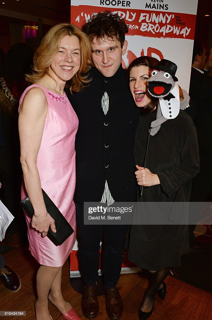 Cast members Janie Dee Harry Melling and Jemima Rooper attend the press night after party of 'Hand To God' at the Trafalgar Hotel on February 15 2016...
