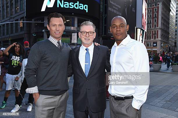 Cast members Jeffrey Donovan and Bokeem Woodbine of FX Network's 'Fargo' with producer Warren Littlefield pose for pictures after ringing the closing...