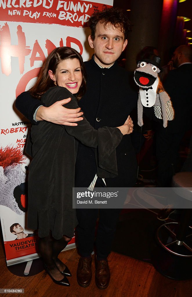 Cast members Jemima Rooper and Harry Melling attend the press night after party of 'Hand To God' at the Trafalgar Hotel on February 15 2016 in London...