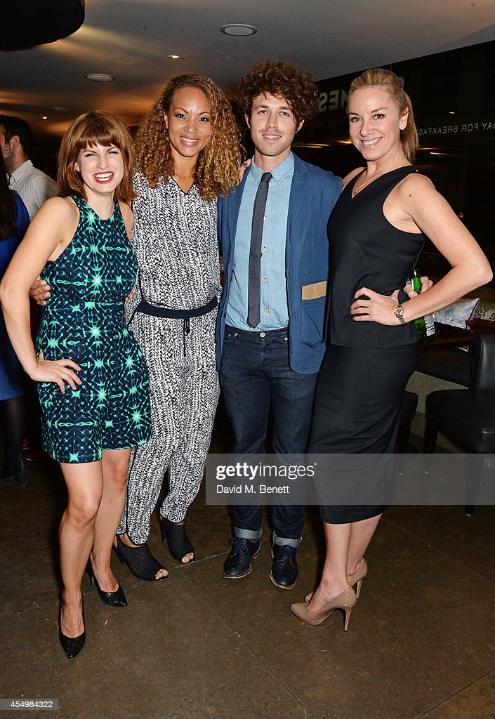 Cast members Jemima Rooper Angela Griffin playwright Ben Ockrent and Tamzin Outhwaite attend an after party celebrating the press night performance...