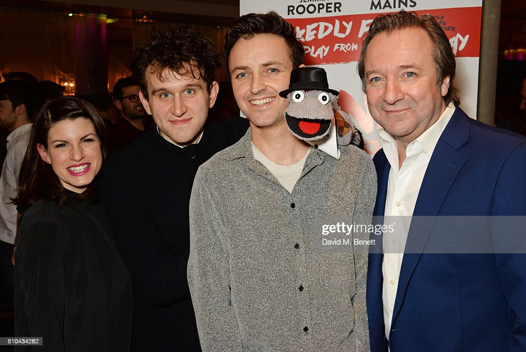 Cast members Jemima Rooper Harry Melling Kevin Mains and Neil Pearson attend the press night after party of 'Hand To God' at the Trafalgar Hotel on...