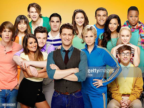GLEE cast members Jenna Ushkowitz Chord Overstreet Darren Criss Melissa Benoist Jacob Artist Naya Rivera and Alex Newell Bottom Blake Jenner Lea...