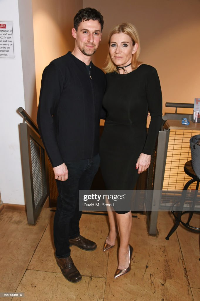 Cast members Joe Coen (L) and Michelle Collins attend the press night performance of 'A Dark Night In Dalston' at the Park Theatre on March 13, 2017 in London, England.