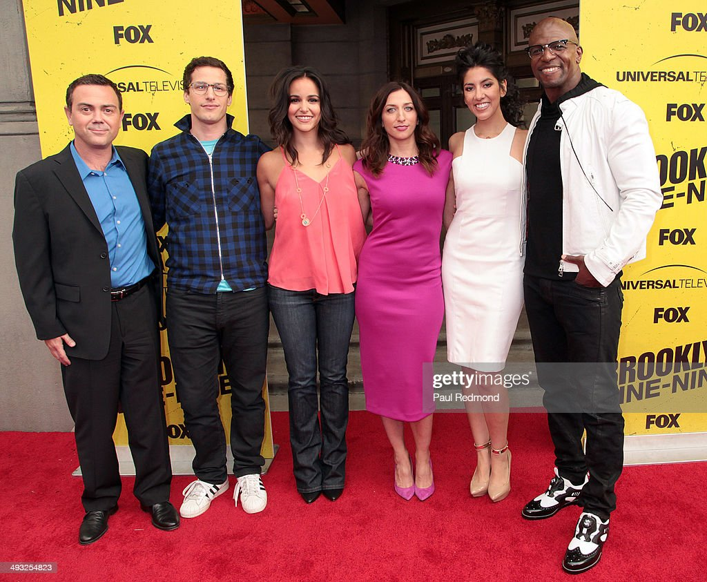 Cast members Joe Lo Truglio Andy Samberg Melissa Fumero Chelsea Peretti Stephanie Beatriz and Terry Crews attend 'Brooklyn NineNine' FYC Special...