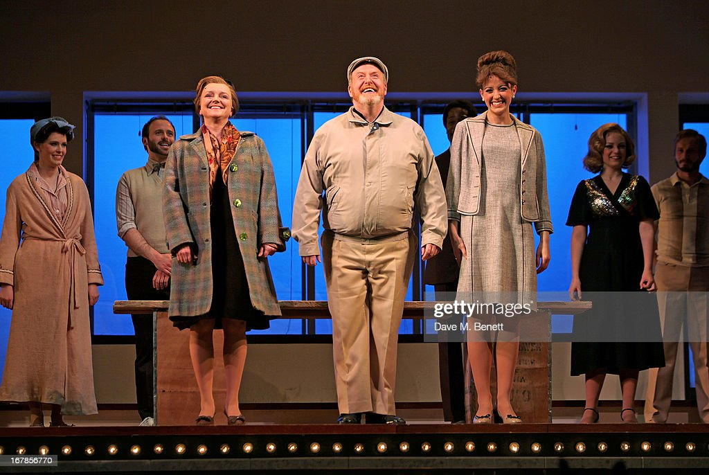 Cast members Julie Jupp, Martin Callaghan and Amy Ellen Richardson bow at the curtain call during the press night performance of the Menier Chocolate Factory's 'Merrily We Roll Along' as it transfers to the Harold Pinter Theatre on May 1, 2013 in London, England.