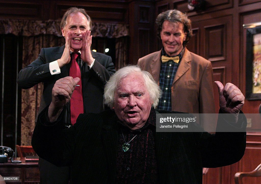 Cast Members Keith Carradine and Lee Godart with director Ken Russell (bottom) attend Curtain Call at opening night of 'Mindgame' at The SoHo Playhouse and Club Huron on November 9, 2008 in New York City.