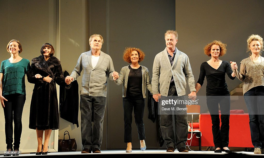 Cast members Kelly Burke, Annabel Scholey, Oliver Cotton, Zoe Wanamaker, Owen Teale, Samantha Bond and Sian Thomas bow at the curtain call during the press night performance of 'Passion Play' at the Duke Of York's Theatre on May 7, 2013 in London, England.