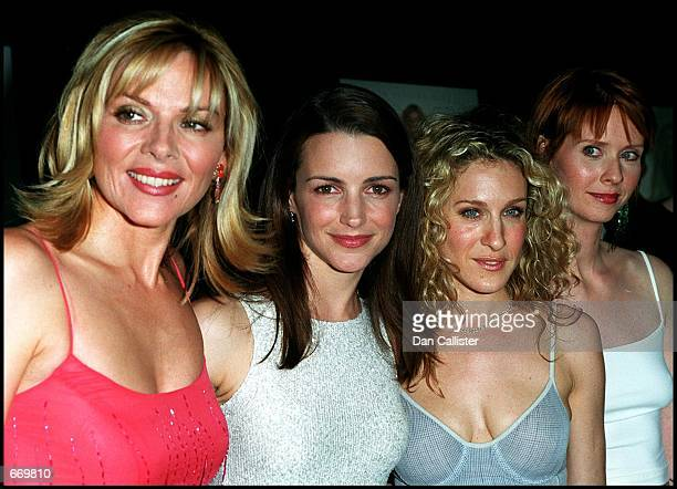 Cast members Kim cattrall Kristin Davis Sarah Jessica Parker and Cynthia Nixon attend the west coast premiere of the third season of 'Sex and the...