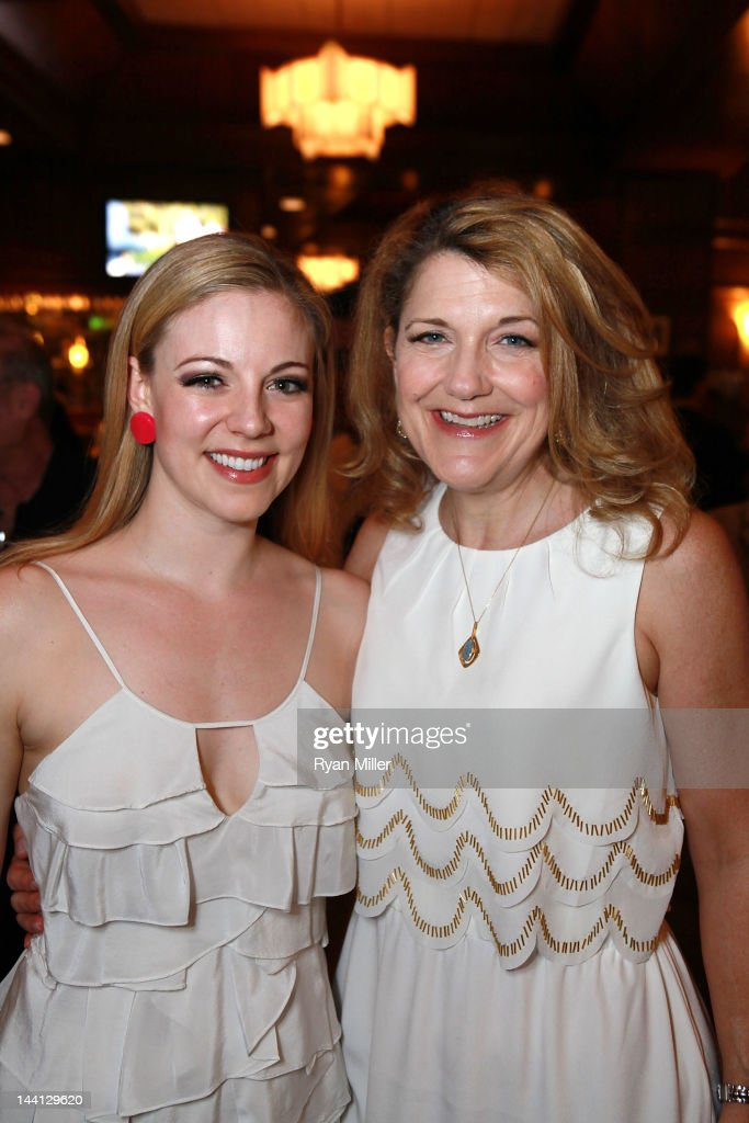 Cast members Kirsten Scott (L) and Victoria Clark (R) pose during the party for the opening night performance of 'Follies' at Center Theatre Group/Ahmanson Theatre on May 10, 2012 in Los Angeles, California.