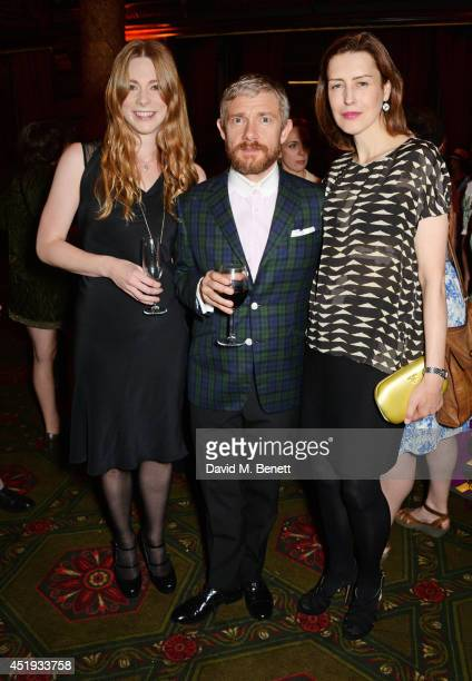 Cast members Lauren O'Neil Martin Freeman and Gina McKee attend an after party celebrating the Gala Night performance of 'Richard III' playing at the...