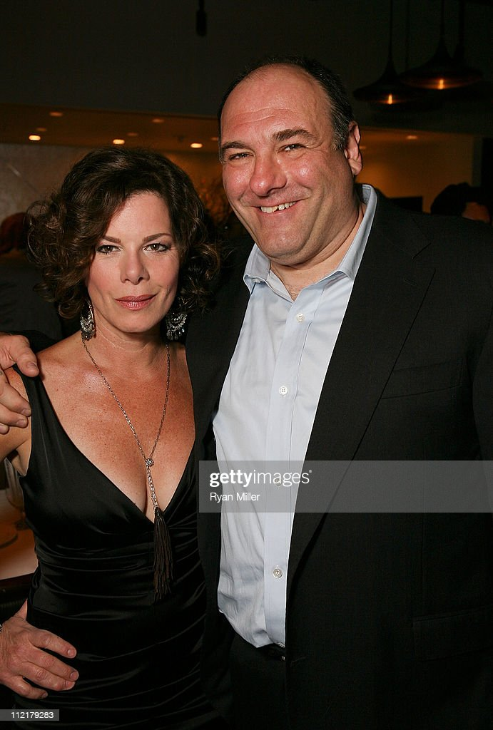 Cast members Marcia Gay Harden (L) and James Gandolfini (R) pose at the party for the opening night performance of 'God of Carnage' at Center Theatre Group's Ahmanson Theatre on April 13, 2011 in Los Angeles, California.