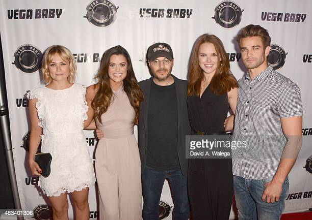 Cast members Margaret Savinar Lindsey Grubbs Monika Tilling and Brian Borellowith with director Adam Rifkin attend the movie premiere of Shooting The...