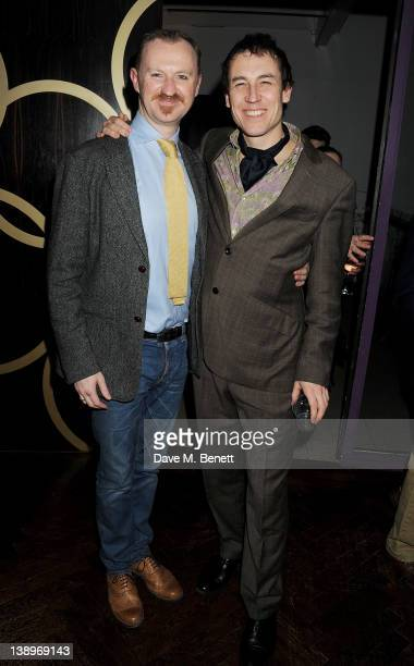 Cast members Mark Gatiss and Tobias Menzies attend an after party following the press night performance of Donmar Warehouse's 'The Recruiting...