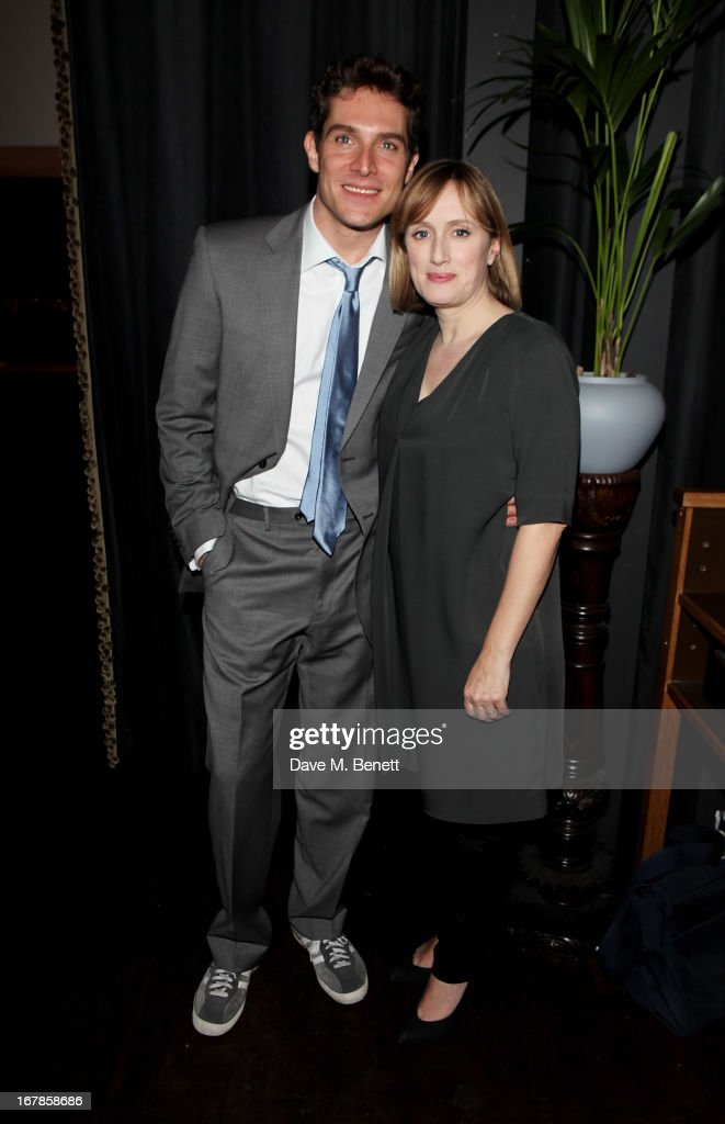 Cast members Mark Umbers (L) and Jenna Russell attend an after party celebrating the press night performance of the Menier Chocolate Factory's 'Merrily We Roll Along', following its transfer to the Harold Pinter Theatre, at Grace Restaurant on May 1, 2013 in London, England.
