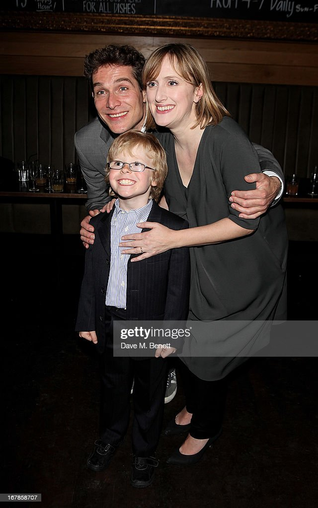 Cast members Mark Umbers, Jenna Russell and Joseph West attend an after party celebrating the press night performance of the Menier Chocolate Factory's 'Merrily We Roll Along', following its transfer to the Harold Pinter Theatre, at Grace Restaurant on May 1, 2013 in London, England.