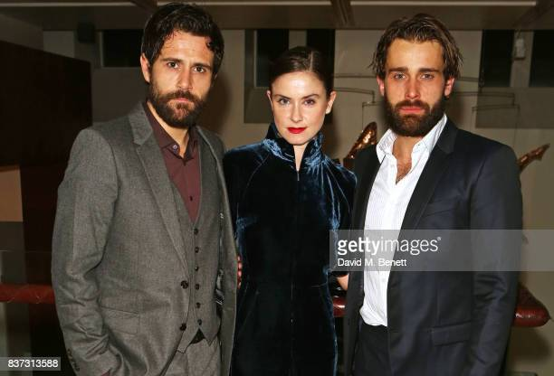 Cast members Matt Ryan Judith Roddy and Christian Cooke attend the press night after party of 'Knives In Hens' at The Hospital Club on August 22 2017...