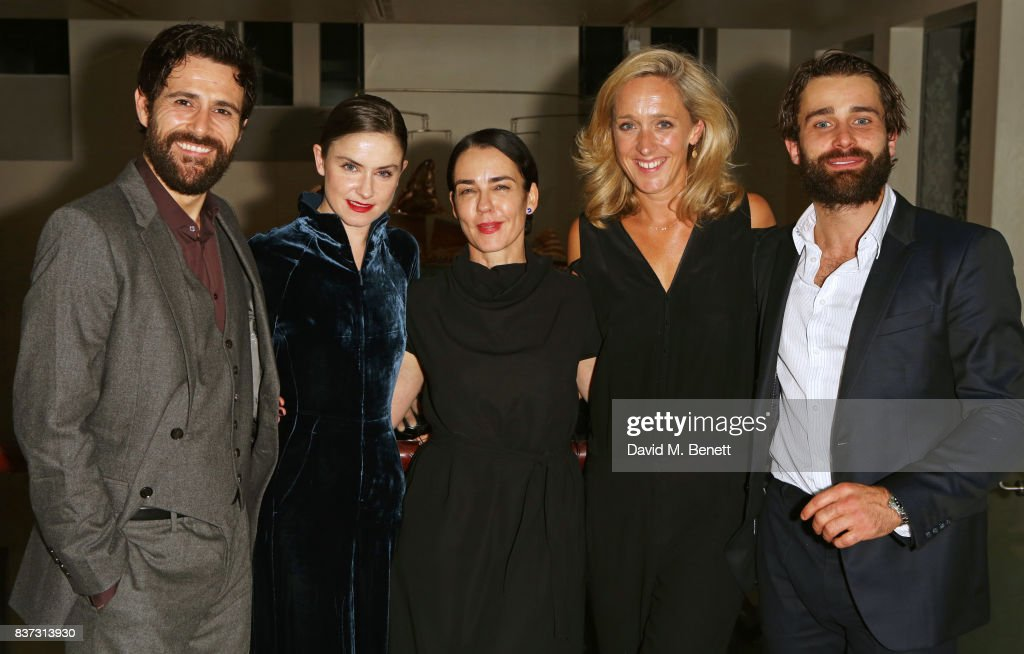 Cast members Matt Ryan, Judith Roddy, director Yael Farber, Donmar Chief Operating Officer Kate Pakenham and Christian Cooke attend the press night after party of 'Knives In Hens' at The Hospital Club on August 22, 2017 in London, England.