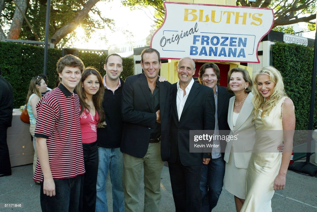 Cast members Michael Cera, Alia Shawkat, Tony Hale, Will Arnett, Jeffrey Tambor, Jason Bateman, Jessica Walter and Portia de Rossi pose at a cocktail party and script reading for FOX-TV's 'Arrested Development' at the Wadsworth Theater on August 13, 2004 in Los Angeles, California.