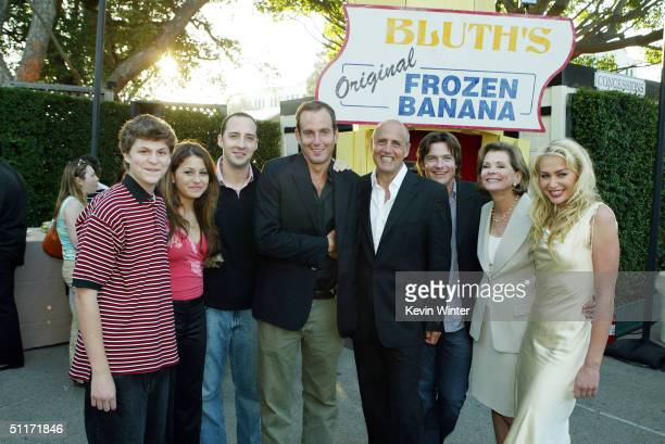 Cast members Michael Cera Alia Shawkat Tony Hale Will Arnett Jeffrey Tambor Jason Bateman Jessica Walter and Portia de Rossi pose at a cocktail party...