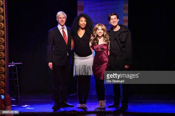 Cast members Mitchel Kawash Aiesha Alia Dukes Mia Weinberger and Richard Spitaletta pose onstage at the 'ME THE PEOPLE The Trump America Musical'...