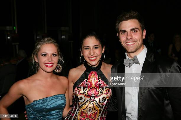 Cast members Natalie Hall Gabrielle Ruiz and Colt Prattes pose at the opening night performance of 'A Chorus Line' at the CTG/Ahmanson Theatre on May...
