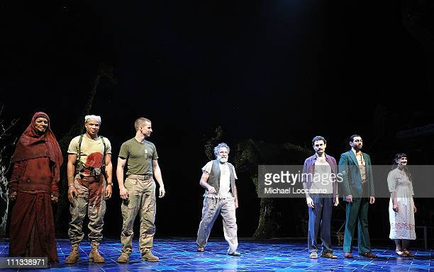 Cast members Necar Zadegan Glenn Davis and Brad Fleischer Robin Williams Arian Moayed Hrach Titizian and Sheila Vand take a curtain call during the...