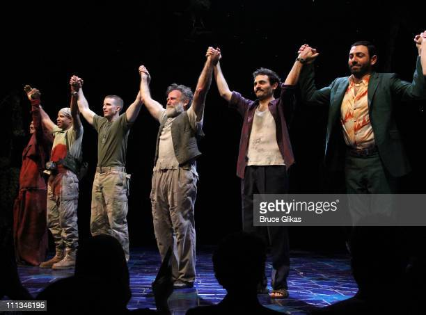 Cast members Necar Zadegan Glenn Davis and Brad Fleischer Robin Williams Arian Moayed and Hrach Titizian attend the curtain call on Opening Night of...