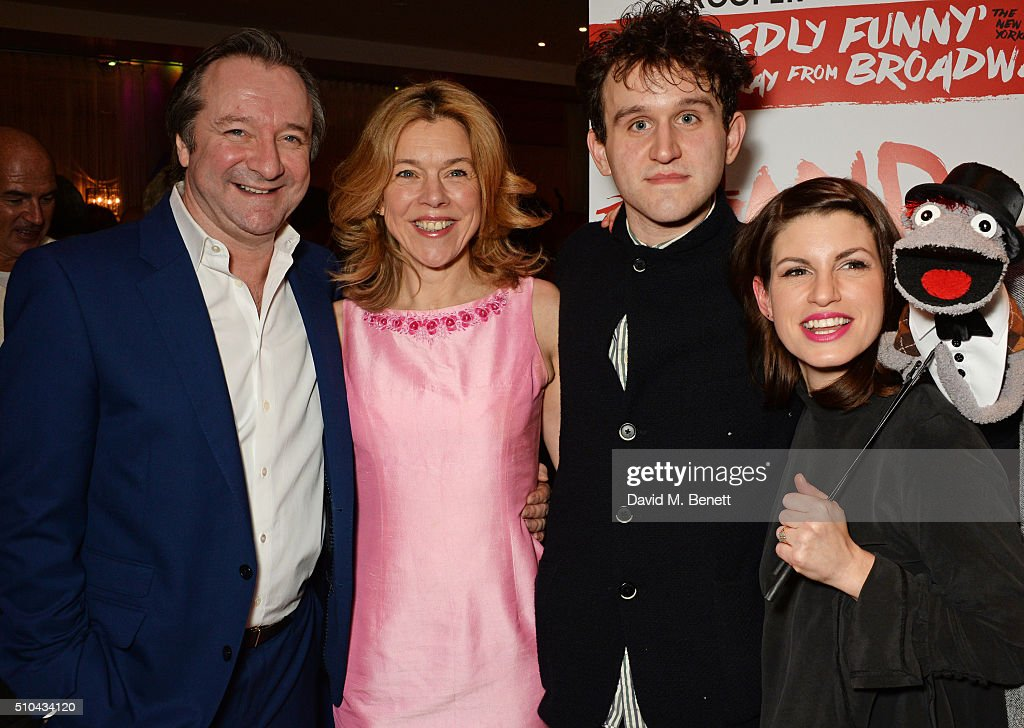 Cast members Neil Pearson Janie Dee Harry Melling and Jemima Rooper attend the press night after party of 'Hand To God' at the Trafalgar Hotel on...