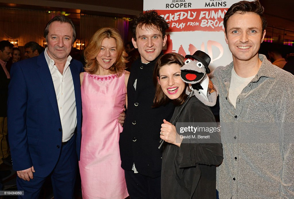 Cast members Neil Pearson Janie Dee Harry Melling Jemima Rooper and Kevin Mains attend the press night after party of 'Hand To God' at the Trafalgar...