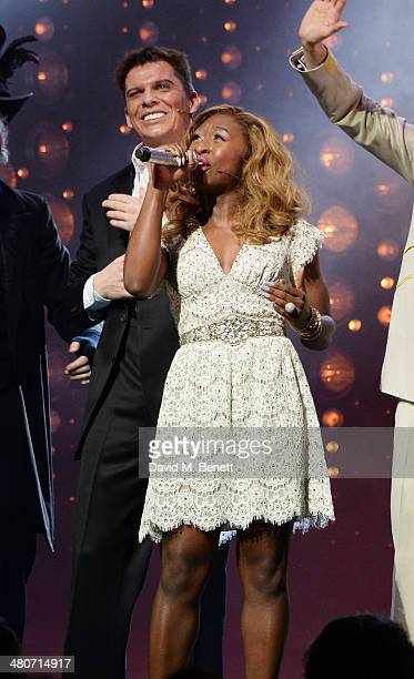Cast members Nigel Harman and Cynthia Erivo bow at the curtain call during the press night performance of 'I Can't Sing The X Factor Musical' at the...