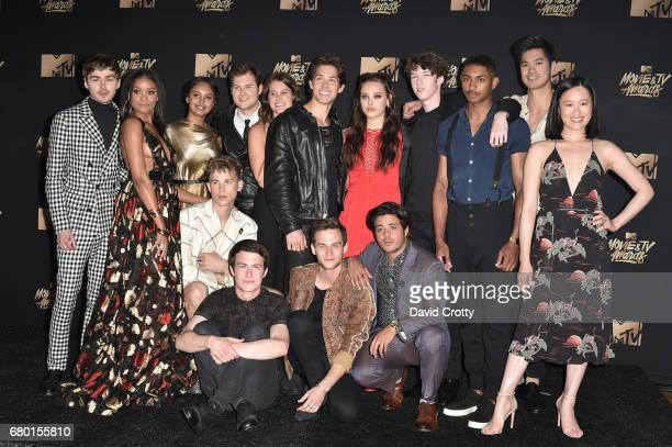 Cast members of '13 Reasons Why' pose in the press room during the 2017 MTV Movie And TV Awards at The Shrine Auditorium on May 7 2017 in Los Angeles...