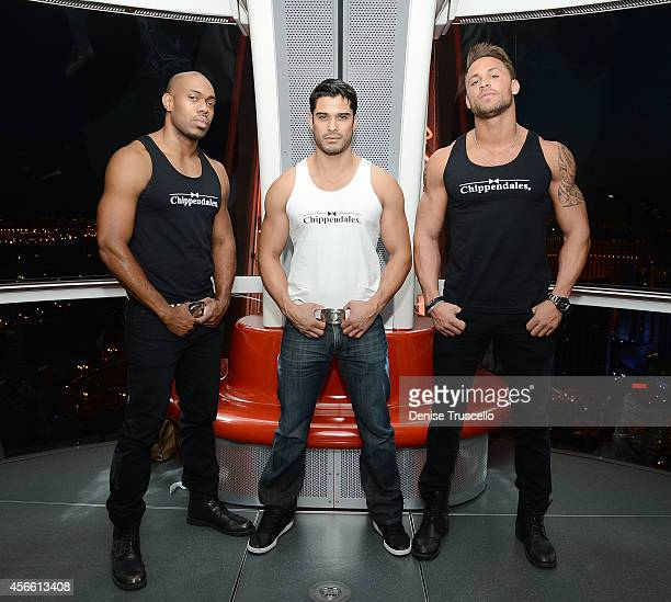 Cast members of Chippendales from Rio AllSuite Hotel Casino The World's Tallest Observation Wheel at the Linq on the High Roller on October 3 2014 in...