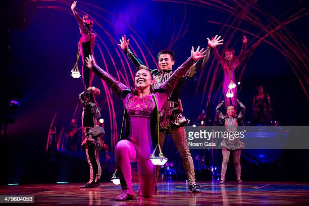 Cast members of Cirque Du Soleil perform at the 'Cirque Du Soleil Amaluna' dress rehearsal at Citi Field on March 19 2014 in New York City