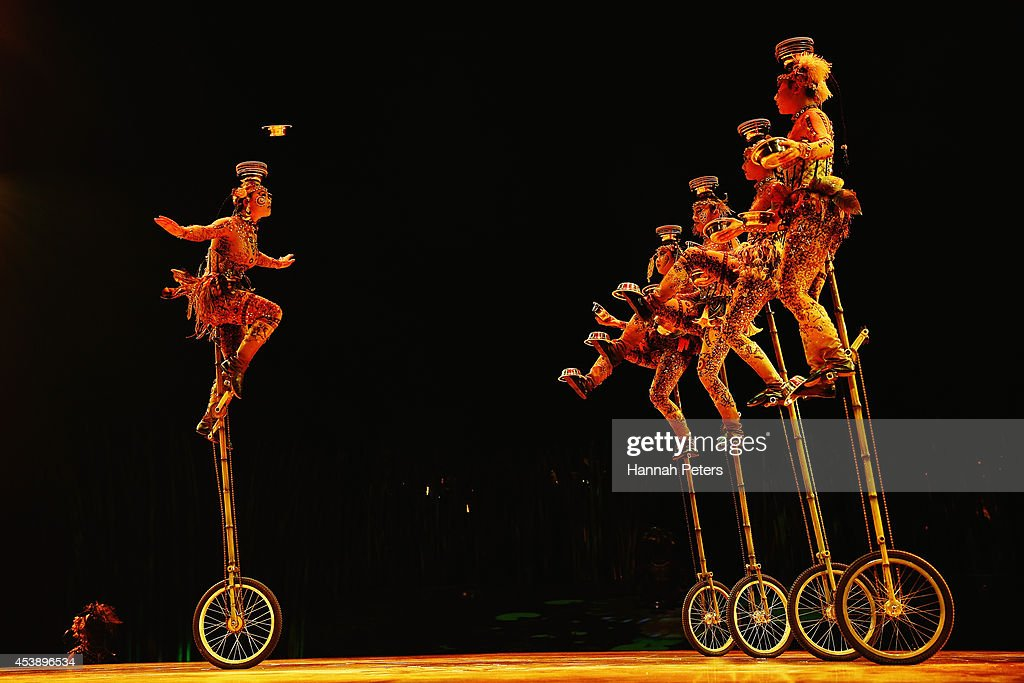Cast members of Cirque Du Soleil performs in 'Cirque Du Soleil's Totem' dress rehearsal at Alexandra Park on August 21, 2014 in Auckland, New Zealand.