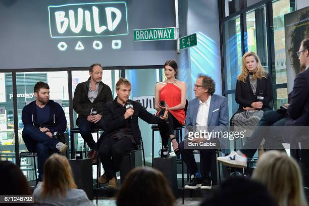 Cast members of 'Genius' actors Seth Gabel Michael McElhatton Johnny Flynn Samantha Colley Geoffrey Rush and Emily Watson attend the Build Series to...