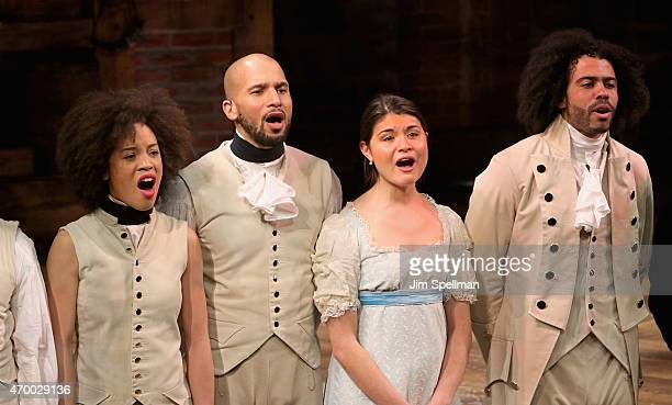 Cast members of 'Hamilton' attend the 40th Anniversary Of 'A Chorus Line' at The Public Theater on April 16 2015 in New York City