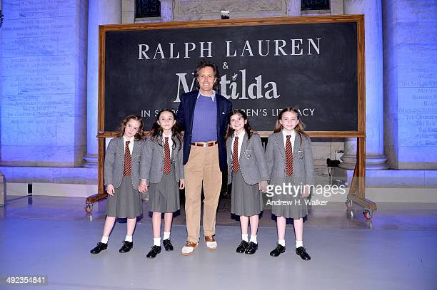 Cast members of Matilda and David Lauren pose at the Ralph Lauren Fall 14 Children's Fashion Show in Support of Literacy at New York Public Library...