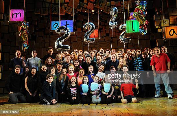 Cast members of 'Matilda' with young actors Tori Feinstein Eliza Holland Madore and Brooklyn Schuck attend 'Matilda' On Broadway Celebrates 2nd...