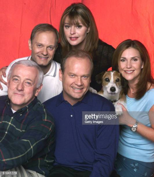 Cast Members Of Nbc Television Comedy Series 'Frasier' Pictured Actors David Hyde Pierce As Dr Niles Crane Jane Leeves As Daphne Moon John Mahoney As...