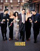 Cast Members Of NBC's Comedy Series 'Friends' Pictured David Schwimmer As Ross Geller Jennifer Aniston As Rachel Cook Courteney Cox As Monica Geller...