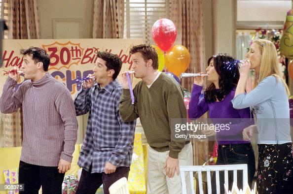 Cast members of NBC's comedy series 'Friends' Pictured Matt LeBlanc as Joey Tribbiani David Schwimmer as Ross Geller Matthew Perry as Chandler Bing...