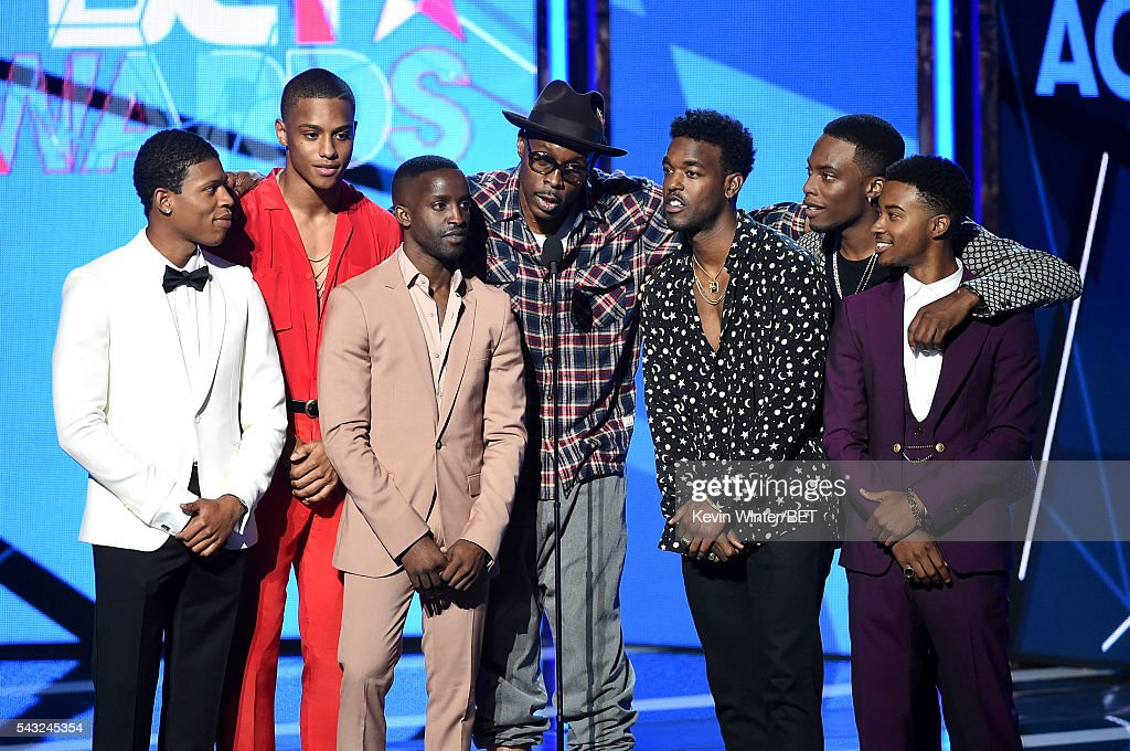 Cast members of 'New Edition: The Movie' speak onstage during the 2016 BET Awards at the Microsoft Theater on June 26, 2016 in Los Angeles, California.