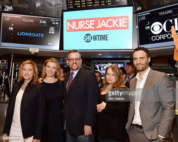 Cast members of 'Nurse Jackie' Edie Falco Betty Gilpin Stephen Wallem Merritt Wever and Dominic Fumusa ring The NYSE Opening Bell at New York Stock...