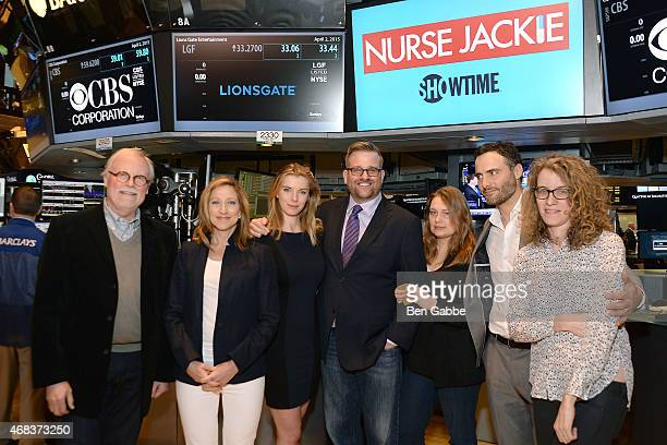 Cast members of 'Nurse Jackie' Edie Falco Betty Gilpin Stephen Wallem Merritt Wever and Dominic Fumusa with executive producers Tom Straw and Liz...
