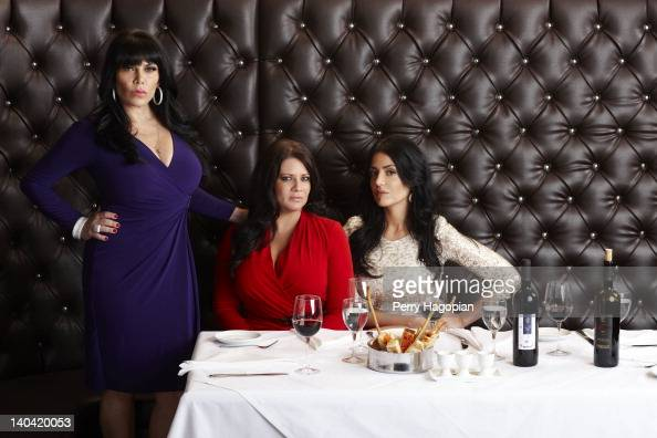 Cast members of reality show 'Mob Wives' Renee Graziano Karen Gravano and Ramona Rizzo are photographed for Reality Weekly on January 16 2012 in...